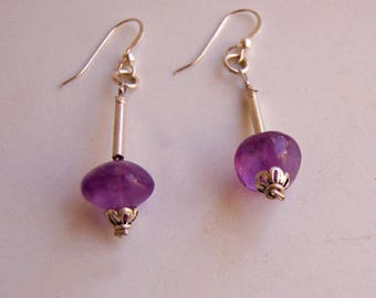Amethyst silver earrings, Amethyst jewelry, Silver jewelry, Gemstone earrings, Purple earrings
