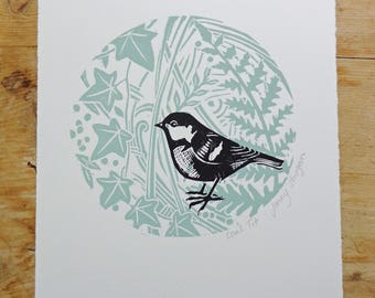 Coal Tit - Fern and Ivy Original Lino Print