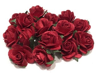Deep Red Open Mulberry Paper Roses Or013