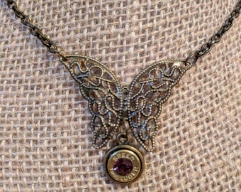 Antique Bronze Bullet Butterfly Necklace w/ Amethyst Swarovski Crystal