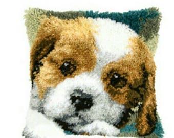 Kawaii Cute Dog carpet diy set Latch hook rug kits Pillowcase carpet home pillow carpet crochet hooks yarn hook rug dog cushion mat