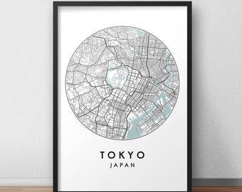 Tokyo City Print, Street Map Art, Tokyo Map Poster, Tokyo Map Print, City Map Wall Art, Tokyo Map, Travel Poster, Tokyo, Japan