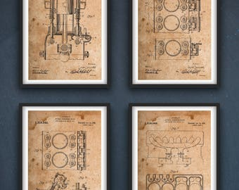 Combustion Patent | Engine Wall Decor |  Wall Art | Engine Set of 4 Patent | -INSTANT DOWNLOAD-