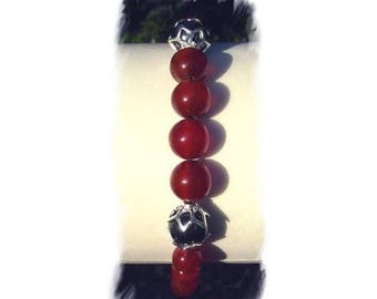 HEMATITE and CARNELIAN and Silver 925 bracelet