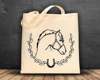 Horse & Horse shoe Canvas Tote Bag ~~ Choice of Color ~~ Personalization Available~~~