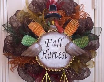 Fall Harvest Wreath,Fall Wreath,Harvest Wreath,Turkey Wreath,Turkey Fall Wreath,Front Door Wreath,Front Door Decor,Wreath,Fall Door Decor