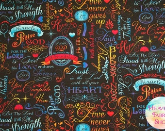 Timeless Treasures Words of Faith Brite Cotton Fabric C4198