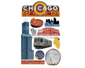 Scrapbook Stickers - Paper House Productions Chicago Illinois Travel & Vacation Dimensional 3d Embellishments