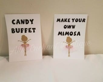 Ballerina Birthday,  Food signs, Candy station table sign, Ballerina Birthday table decorations, Dance party table signs