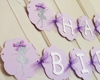 Ballerina Purple and Silver Birthday Banner, Girl Ballerina Banner, Happy Birthday Banner