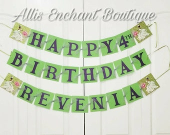 Princess and the Frog Girls Birthday banner , Happy Birthday Banner,  Tiana Banner, Birthday Banner