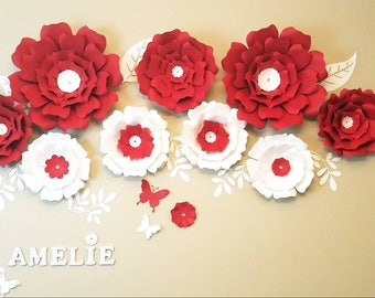 Large paper flowers. Large paper flowers wall. Nursery flowers wall. Wedding backdrop. Bridal shower decor. Girl's room decor. 3D flowers.