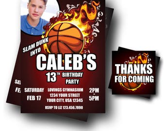 Basketball Invitation - Teen Birthday Party Invite - FREE Thank You Card