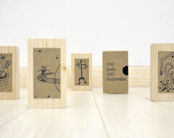 MONSTER BLOCKS funny pictures on wood // Hand-made wooden paperweights
