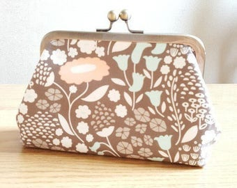 Clutch Bag Purse with Antique Gold Kiss Lock Clasp Floral Cotton Fabric Purse Valentines Day Gift
