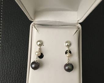Handmade Sterling silver clip on earrings with freshwater pearls