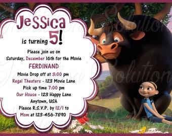 Ferdinand The Bull Birthday party Invitation/ Movie Ferdinand Party Invite