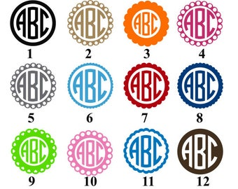 Monogram Decals, Yeti Stickers, Circle Monogram, Custom Monogram, Laptop Decal, Laptop Decals, Yeti Monogram Sticker, Three Letter Monogram