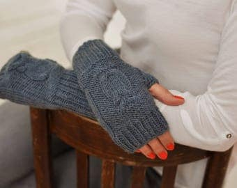 Knitted warm fingerless gloves Knit gloves Warm mittens Womens fingerless Mittens wool Muffs knit Fingerless mittens Handmade mittens winter
