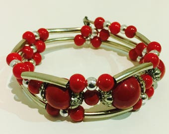 Red Coral Tibetan Silver Bracelet, Red Coral Bracelet, Tibetan Silver Bracelet, Red Gemstone Silver Bracelet, Natural Red Coral Bracelet