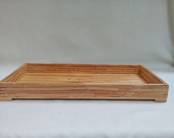 Vintage Light Wood Bamboo Decorative Vanity Tray Sophisticated tray / corralling cosmetics, perfumes, hair accessories