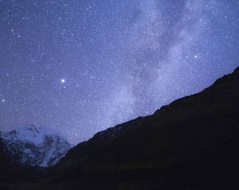 Stars - Mountain Snow Summit Night Sky Milky Way Purple Blue Constellations Galaxy Space Glow Photography Print
