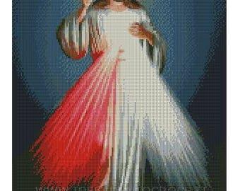 MERCIFUL JESUS ' cross stitch pattern
