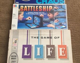 Lot of 3 Vintage board games. The Game of Life, BATTLESHIP, CHAOS