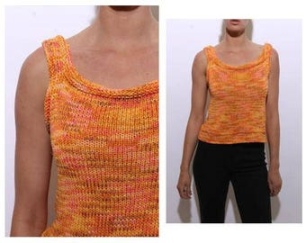 vintage 1990's 90's orange crochet tank top knit woven yellow bright purple pink sleeveless S-M