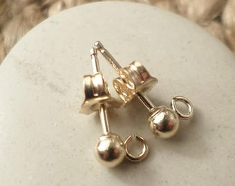 Pair of stud earrings in 14 k gold-filled 3 mm ball
