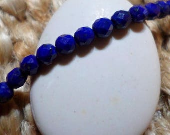 Lapis lazuli - set of 10 round faceted beads 3 mm