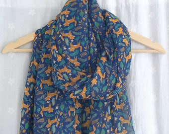 Ladies Women's Navy Blue and Orange Fox Print Scarf Shawl Wrap Foxes Woodland Creature