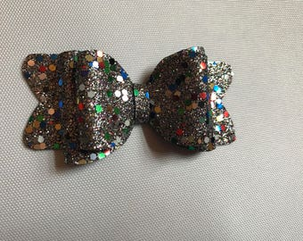 Harlequin sequin hair bow
