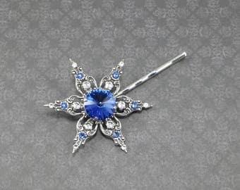 Sapphire Star Flower Bobby Pin, Swarovski Bobby Pin, Jeweled Bobby Pin, Hair Adornment, Hair Jewelry, Blue Wedding, Gift, Handmade, OOAK