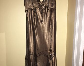 Vintage Bronze Beaded Gown