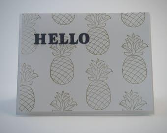 Golden Pineapple Hello Card