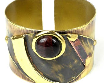 Red Tiger Eye Reflections Copper and Brass Cuff | Handcraft Brass Cuff Bracelet Jewelry | Handmade By Artists | Unique Gift | Woman Bracelet
