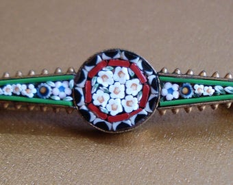 Exquisite Vintage Italian Micro Mosaic Bar Brooch