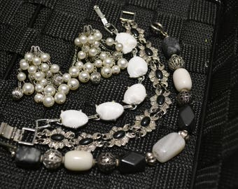Jewelry Set  Earring and Bracelet Lot  Vintage pearls and silver Bracelet Lot