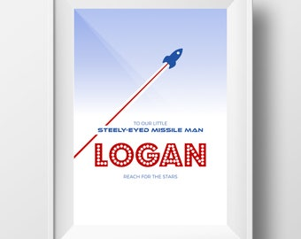 Logan - Printable Personalised Nursery Decor - Steely Eyed Missile Man Cute Baby Gift - Baby Print - Nursery Print - Space Print Logan Name