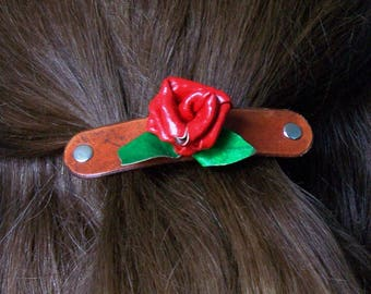 Red Rose Hair Barrette with French Clip / Genuine Leather / leather barrette /  hair accessories / handmade / Flower / FREE Shipping in USA