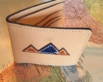 "The ""mountain range"" Veg Tan leather wallet"