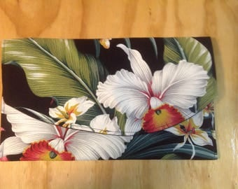 Tropical White and red Orchid Clutch