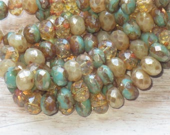 8x6mm Czech Glass Faceted Rondelle Bead Champagne Mix (15pcs) -Czech Glass Beads - Mixed Colors