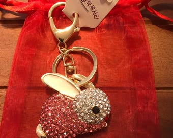 Diamante Bunny Keyring