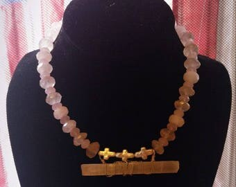 Siren Rose Quartz, Pearl, Selenite Choker