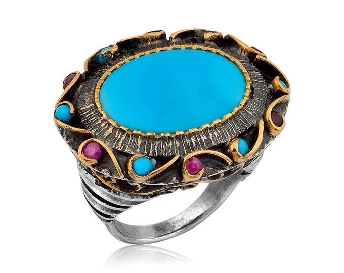 Handmade Turquoise Ring with Rubies