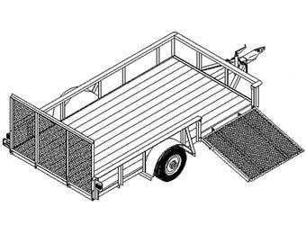 6'6″ x 12′ Utility ATV/Landscape Trailer Plans Blueprints – Model 1112    Master Plans & Designs