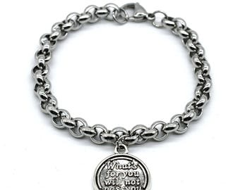 Stainless Steel Link Bracelet, What's For You Will Not Pass You, LB10