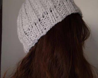 LIGHT grey Hat woman wool